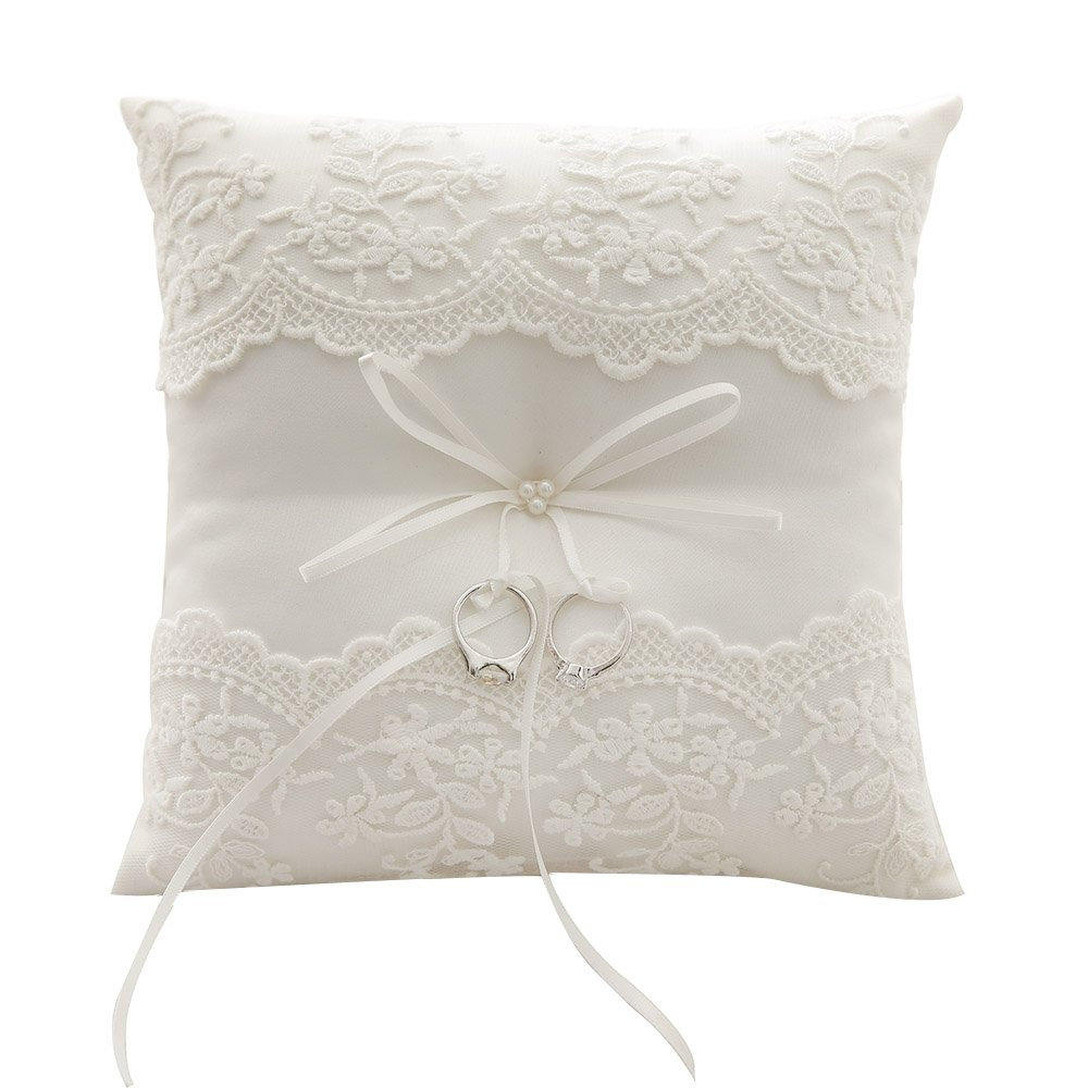 awtlife lace pearl wedding ring pillow ivory cushion