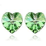 Heart Shaped Swarovski Element Crystal Stud Earrings Fashion Jewelry for Women