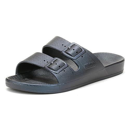 66820abaace8 Freedom Moses Womens Twilight Blue Slide Slider Sandals Size 5 6 ...