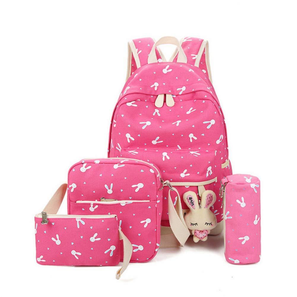 SGLOI Studentenrucksack 4 Teile sätze Cartoon Kaninchen Druck Schulrucksack Frauen Rucksäcke Leinwand Schultaschen für Mädchen Im Teenageralter Reisetasche Rosa