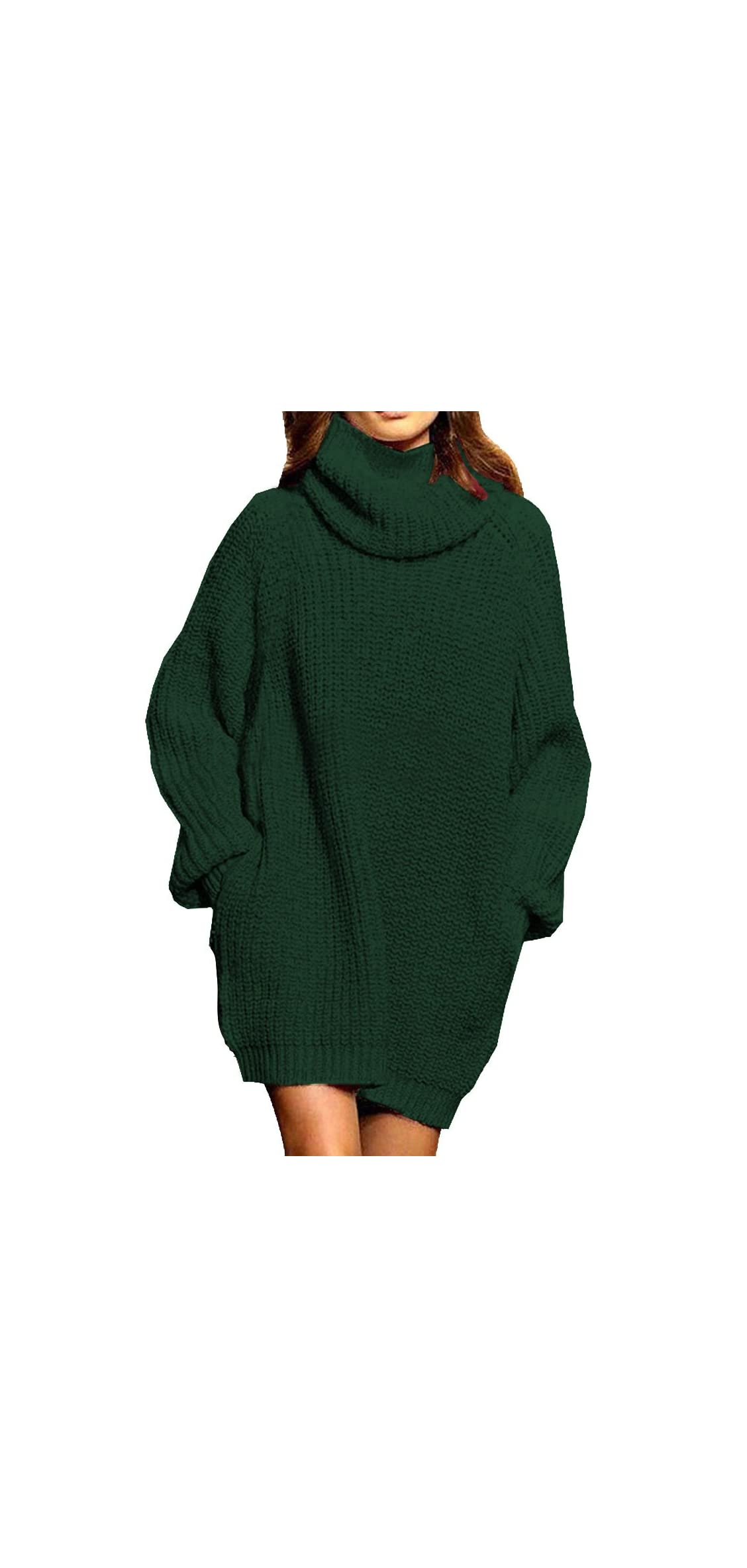Women's Loose Oversize Turtleneck Wool Long Pullover