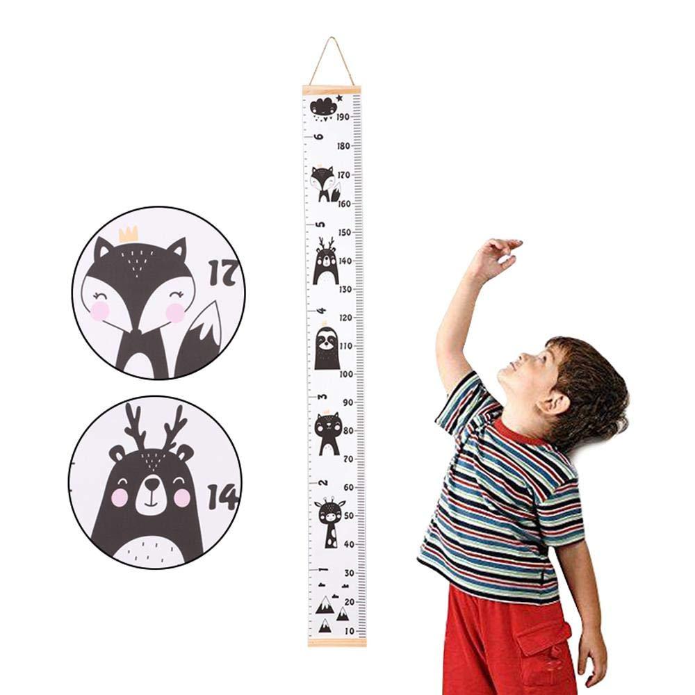 Fewao R/ègle de croissance murale pour enfant avec /échelle de hauteur pour b/éb/é Cadre en bois et toile D/écoration murale pour gar/çons et filles Mesure de la hauteur Facile /à /écrire 200 x 20 cm