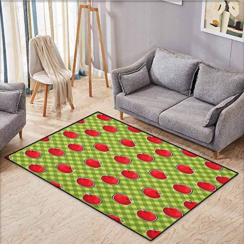 (Collection Area Rug,Apple,Diagonal Stripes Plaid Background Organic Fruits Summer Picnic Theme,Children Crawling Bedroom Rug,4'11