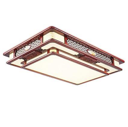 Lámpara de techo empotrada LED cuadrada de madera 24W ...