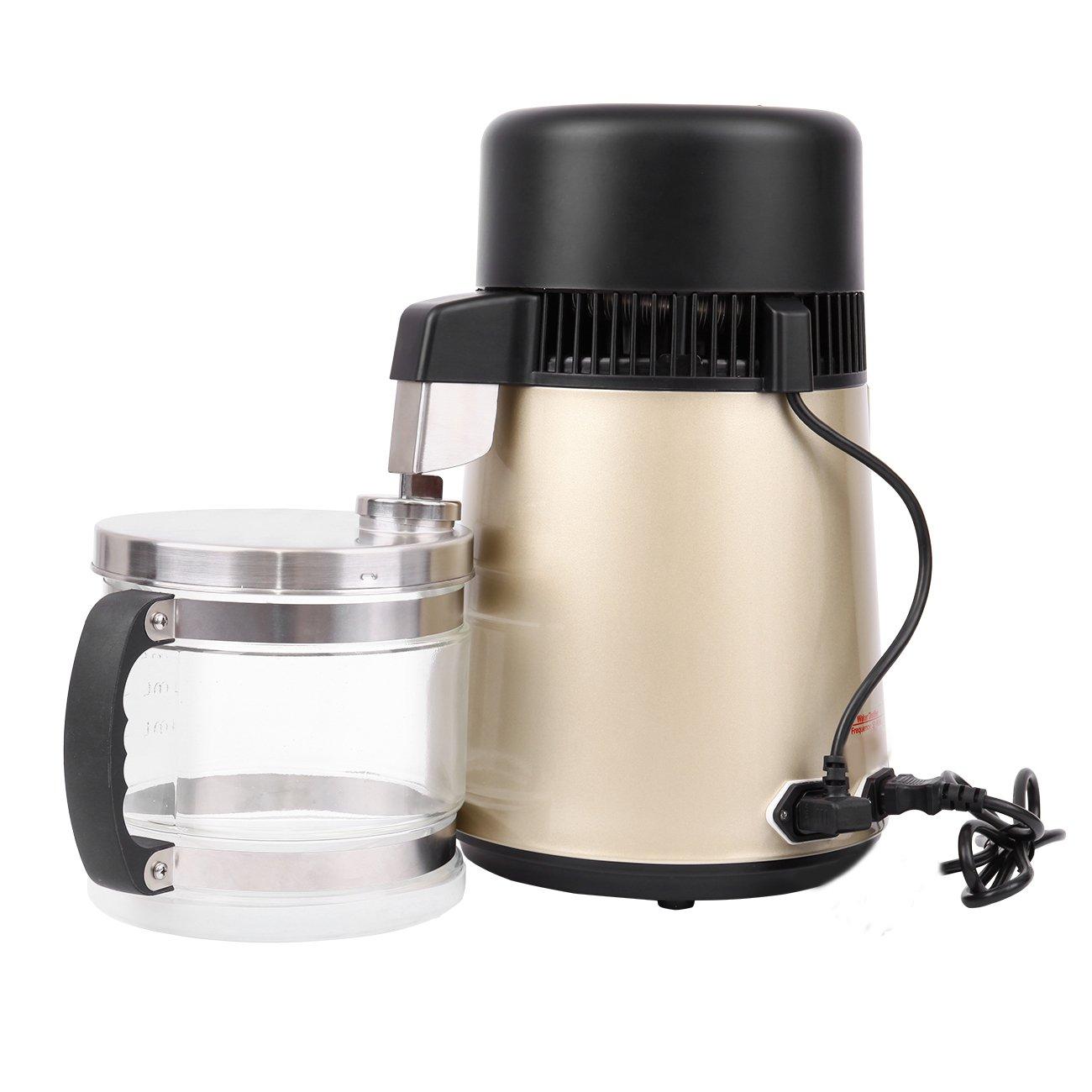 Ridgeyard 4L Pure Water Distiller Purifier Dental and Pure Water Maker 304 Stainless Steel Body & Filter Glass Bottle 1L/h (Gold)