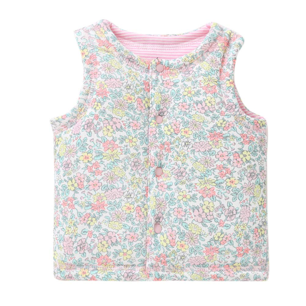 kaiCran Kids Baby Cotton Warm Vests Unisex Infant to Toddler Cartoon Floral Print Padded Waistcoat