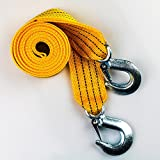 "SCJ Heavy Duty Car Tow Strap/Rope with Safety Hooks | 1.9"" x 9.8' 