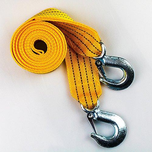 "SCJ Heavy Duty Car Tow Strap/Rope with Safety Hooks   1.9"" x 9.8'   6700 LB Capacity   Polypropylene fiber by SCJ"