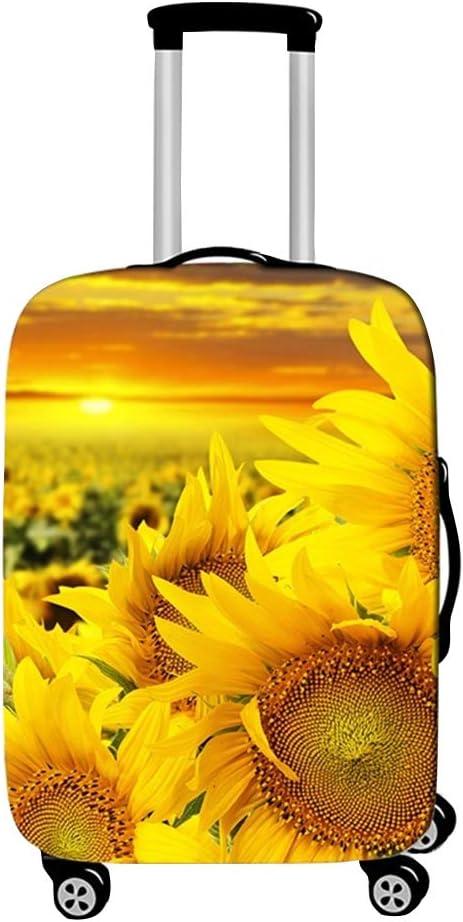 Surwin 3D Cubierta de Equipaje Protectora Suave Elástico Anti-Polvo Lavable Funda de Maleta Luggage Cover con Cremallera Viaje Cubierta de la Caja (Jardín del Sol,S (18-20 Pulgadas))