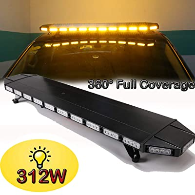 SMALLFATW 48 Inch Amber Rooftop Emergency Warning Light Bar Professional Design 312W High Intensity Low Profile Strobe Light Bar with New Version Remote Controller for Vehicles, Tow Trucks, Snow Plow: Automotive