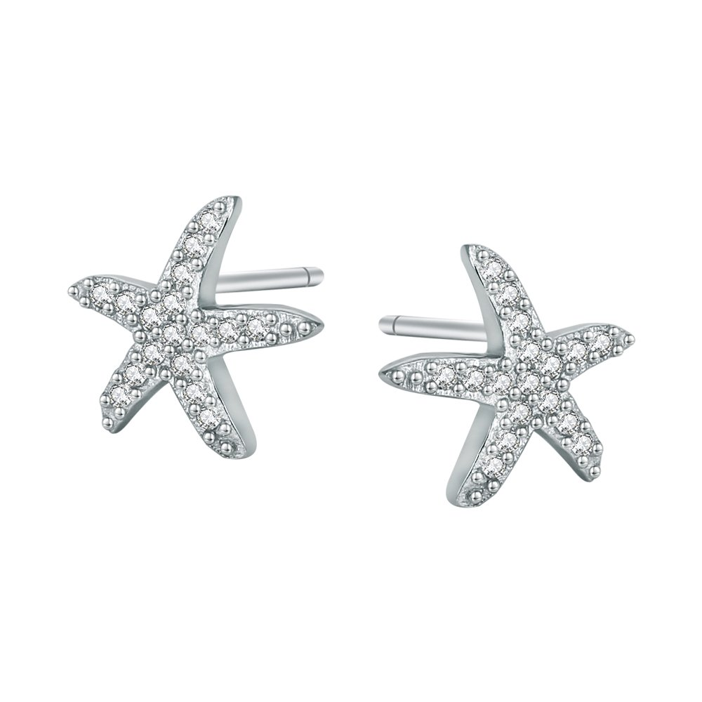 AoedeJ Dancing Starfish Stud Earrings Sterling Silver Earrings Mico Pave CZ Earrings for Women Girls