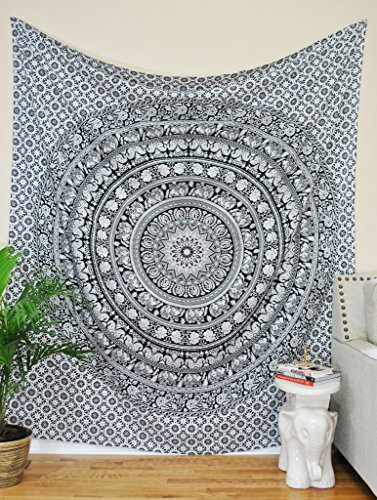 Tapestry Twin Black and White Hippie Elephant Mandala Tapestry Indian Traditional Beach Throw Wall College Dorm Bohemian Wall Hanging Boho Twin Bedspread Tapestries (Black &White) Craft N Craft India
