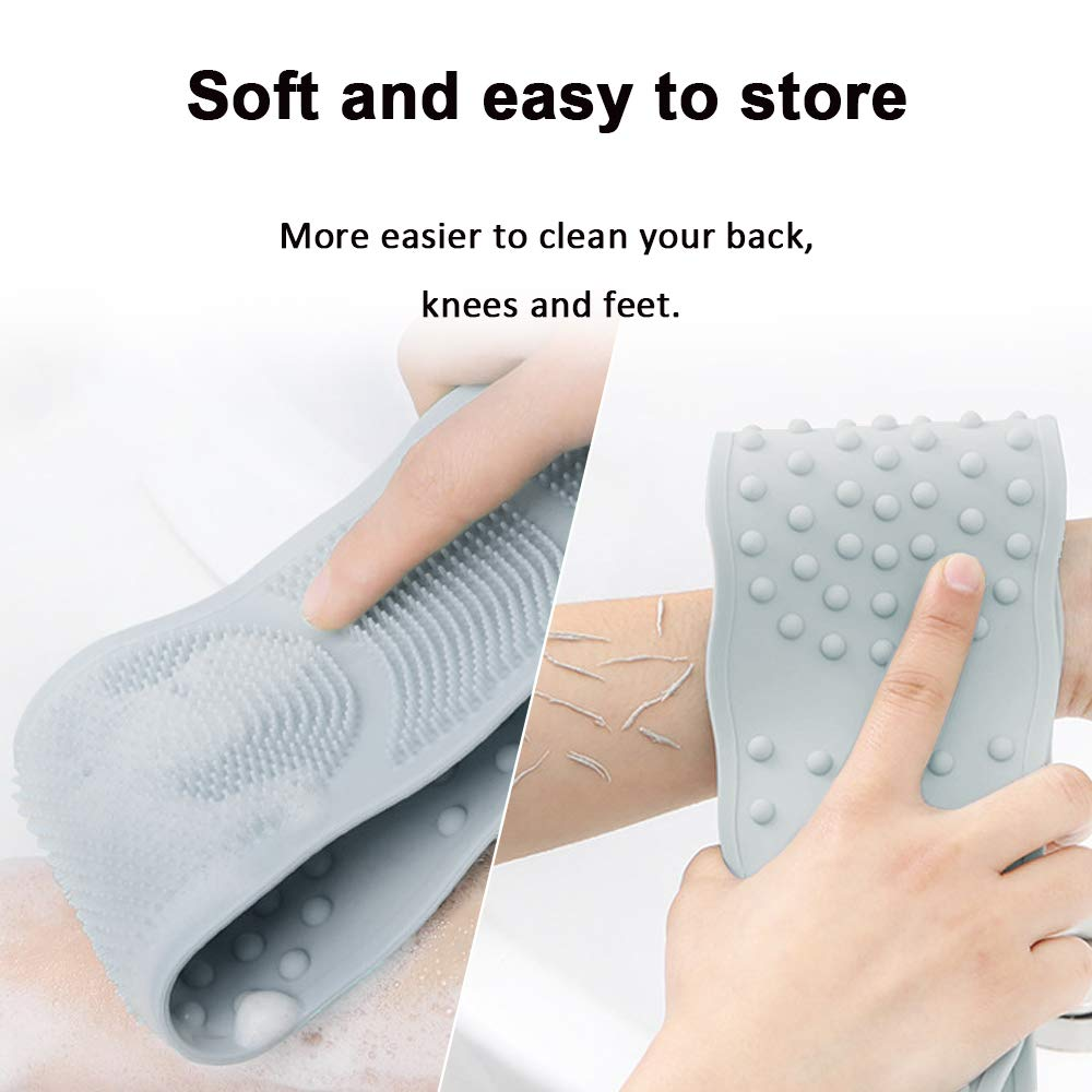 BAIMEI Silicone Back Scrubber for Shower, Handle Body Washer, Exfoliating Texture Scrubbing Pad (Grey) : Beauty