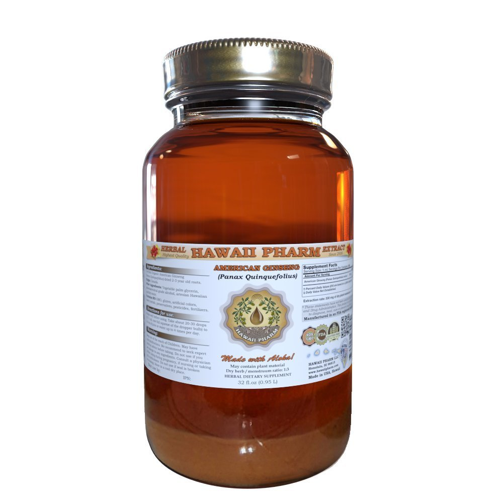 American Ginseng Liquid Extract, Ginseng (Panax Quinquefolius) Dried Root Tincture Supplement 32 oz