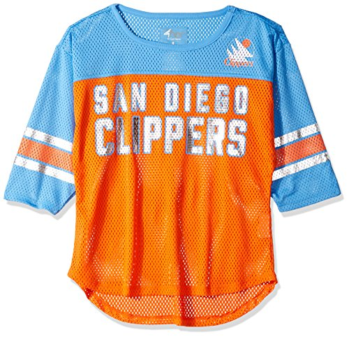 (GIII For Her NBA San Diego Clippers Women's First Team Mesh Top, Small, Orange/Blue)