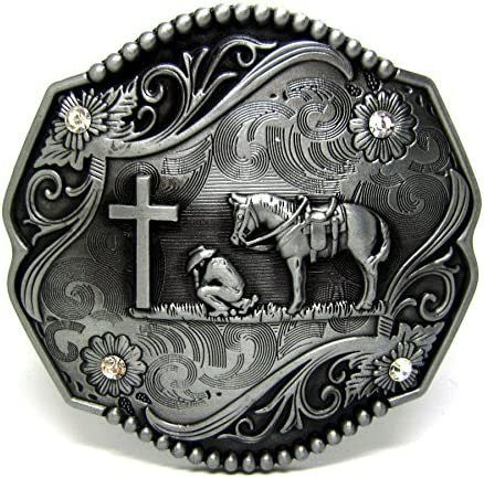 Rhinestone Cowboy Belt Buckle,Horse,Cross,Praying,Buckle,Metal,Horse Rider