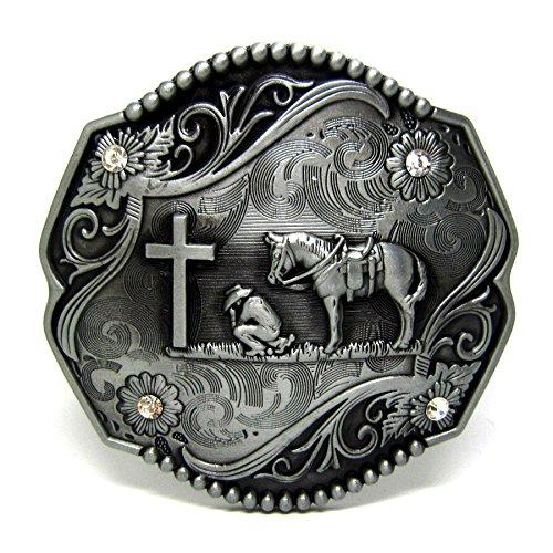Western Cowboy Church Prayer Horse Cross Christian Belt Buckle Black Crystal