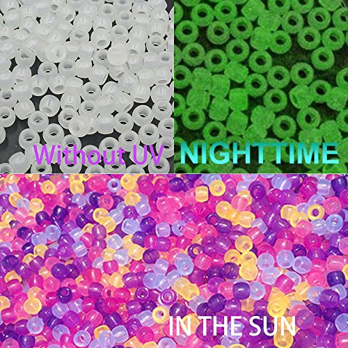 V Beads Multi Color Changing UV Reactive Plastic Pony Beads, Glows in the Dark, Fun for Jewelry / Bracelets Making (6-8mm) (Glow In The Dark Pony Beads)