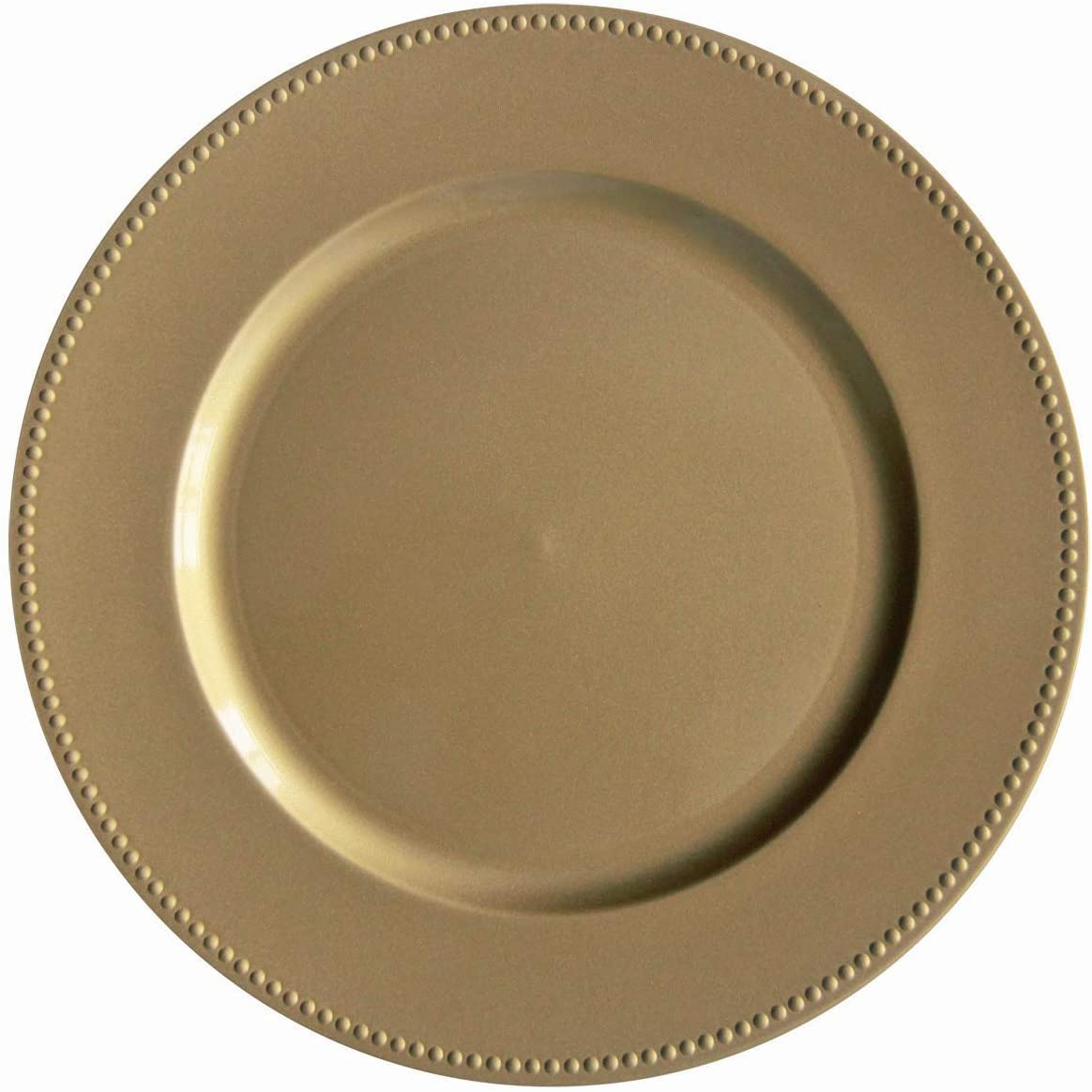Gold Plastic Beaded Charger Plates - 12 pcs 13 Inch Round Wedding Party Decroation Charger Plates (Gold, 12)