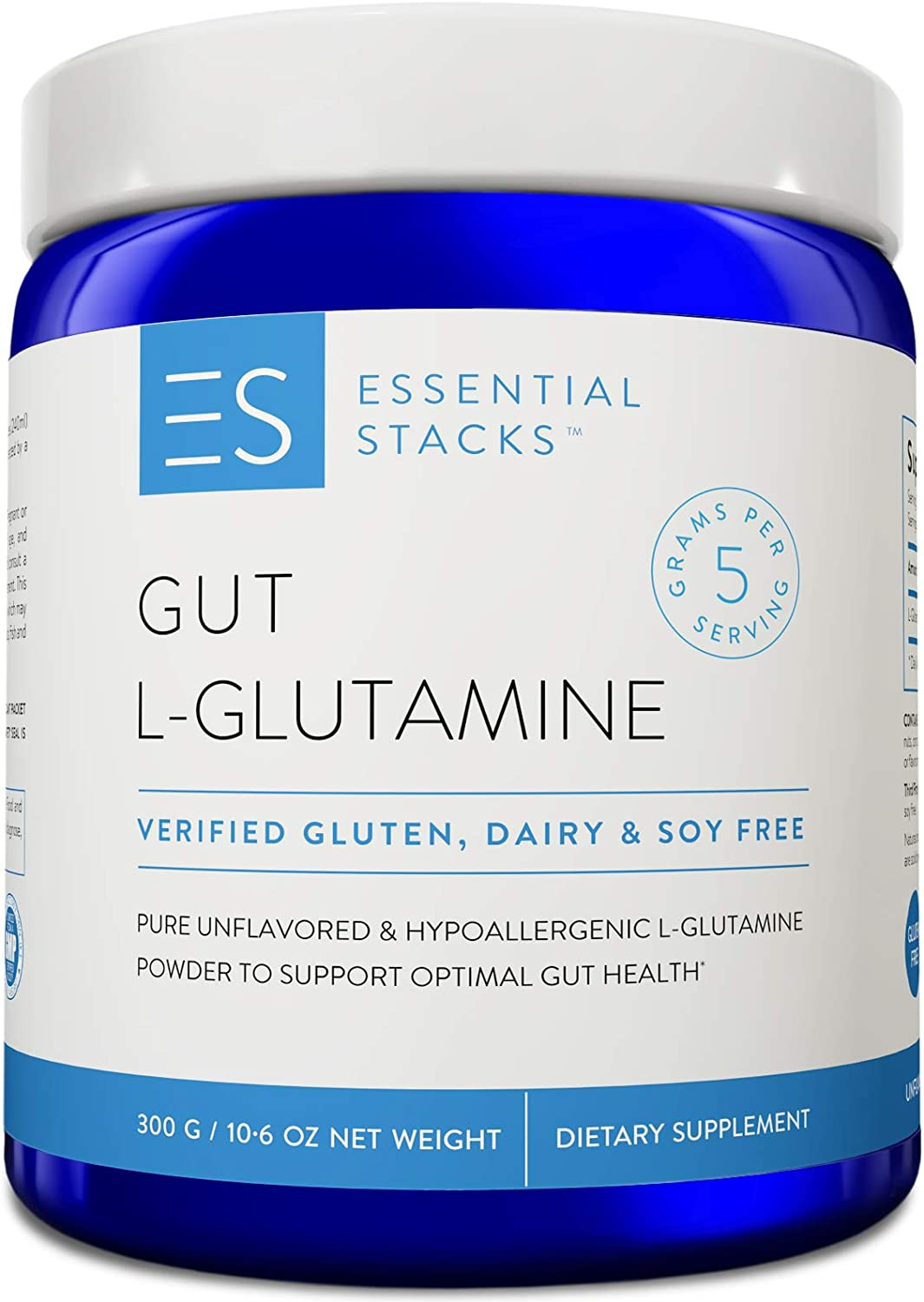 Essential Stacks Gut L-Glutamine Powder – Gluten Free, Dairy Free, Soy Free, Non-GMO Hypoallergenic with 3rd Party Verified Allergen Testing – Pure Unflavored L Glutamine for Optimal Gut Health