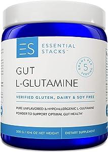 Essential Stacks Gut L-Glutamine Powder – Gluten, Dairy & Soy Free, Vegan, Non-GMO & Hypoallergenic with 3rd Party Verified Allergen Testing - Pure Unflavored L Glutamine for Optimal Gut Health