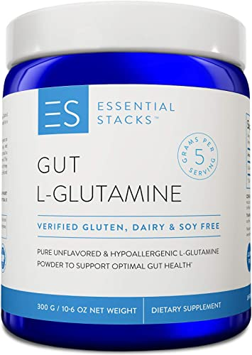 Essential Stacks Gut L-Glutamine Powder Gluten, Dairy Soy Free, Vegan, Non-GMO Hypoallergenic with 3rd Party Verified Allergen Testing – Pure Unflavored L Glutamine for Optimal Gut Health