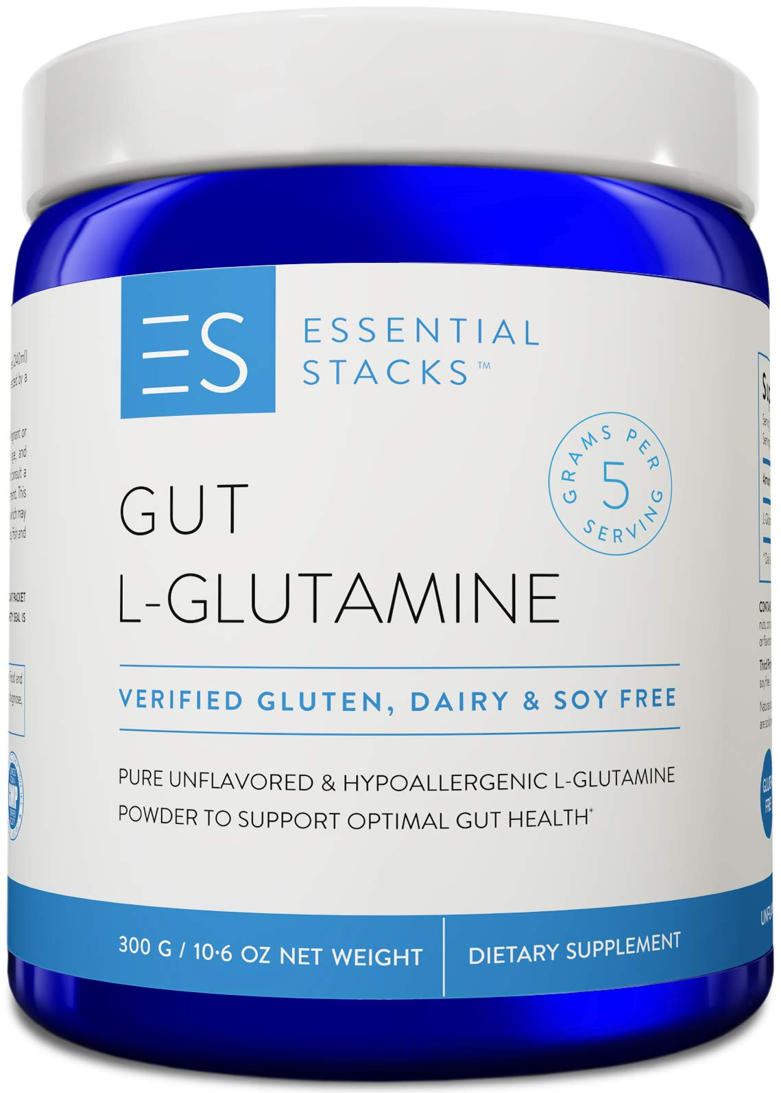 Essential Stacks Gut L-Glutamine Powder - Gluten Free, Dairy Free, Soy Free, Non-GMO & Hypoallergenic with 3rd Party Verified Allergen Testing - Pure Unflavored L Glutamine for Optimal Gut Health by Essential Stacks
