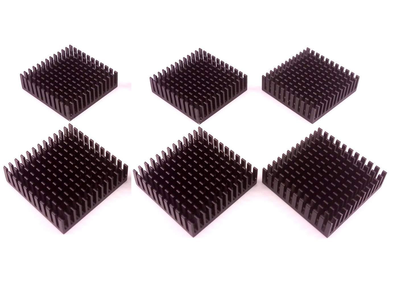 Easycargo 40mm Heatsink 40x40x11mm, Aluminum Cooler Cooling Heat Sink for Cooling 3D Printers, TEC1-12706 Thermoelectric Peltier Cooler 40mmx40mmx11mm (Black 6pcs)