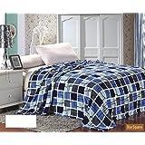 Ultra Plush Blue Square Plaid Design Queen Size Microplush Blanket