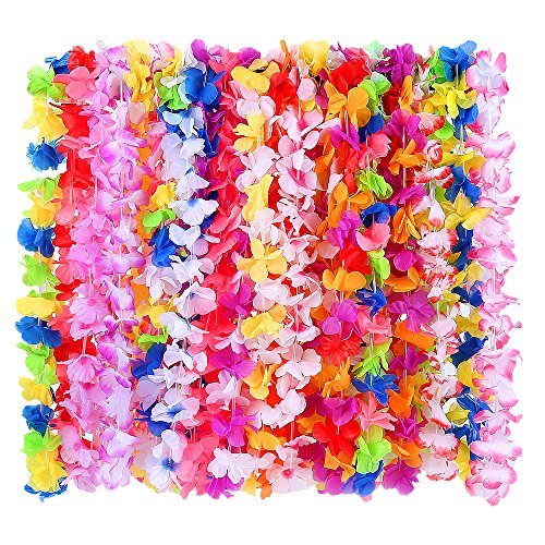 WEfun 36 Pack Hawaiian Leis Party Supplies with Multicolor Design for Theme Party Event Decorations (Spirit Halloween Opening Day)