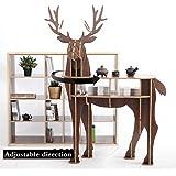 OTHER Wooden Deer Home Decor Living Room End Tables Self-built Puzzle Furniture,Black Walnut