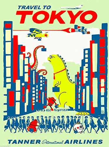 MAGNET Travel to Tokyo by Clipper Godzilla Japanese Japan Advertisement Magnet Print (Godzilla Magnet)