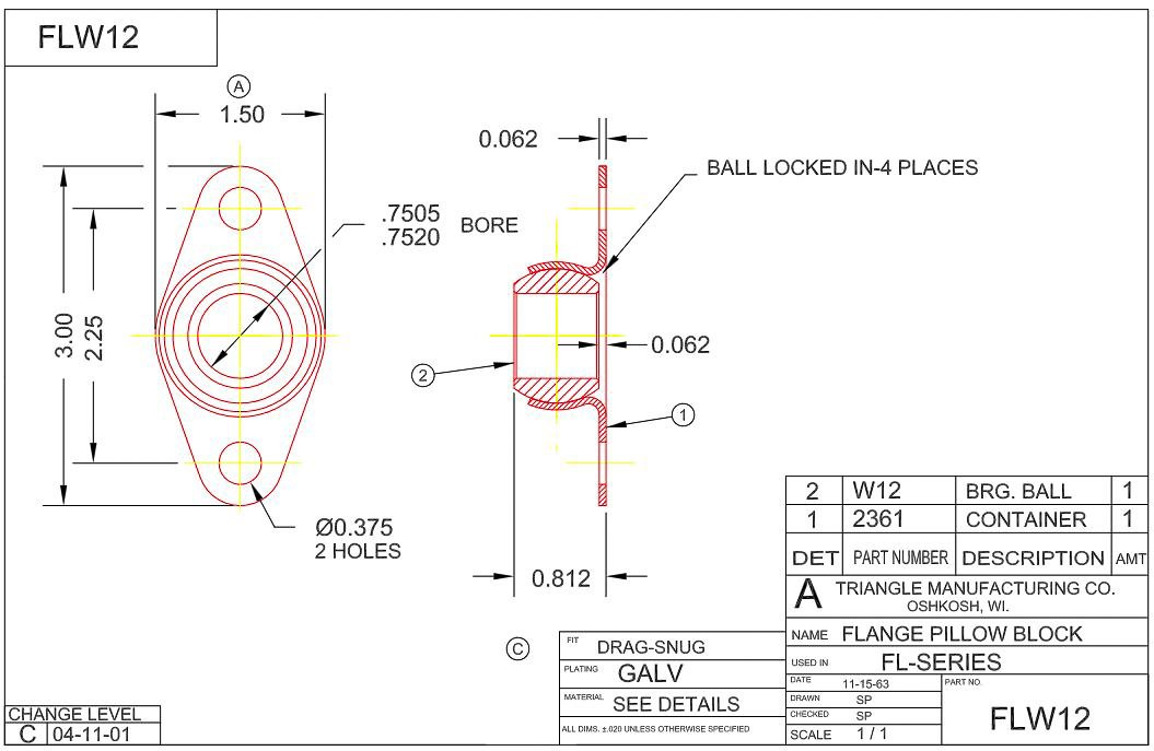 FLW12 2-Bolt Side Flange Mounted Bearing 3//4 Bore 3 Length Self-Alignment Sintered Iron Ball Bearing Qty 2: Triangle Mfg