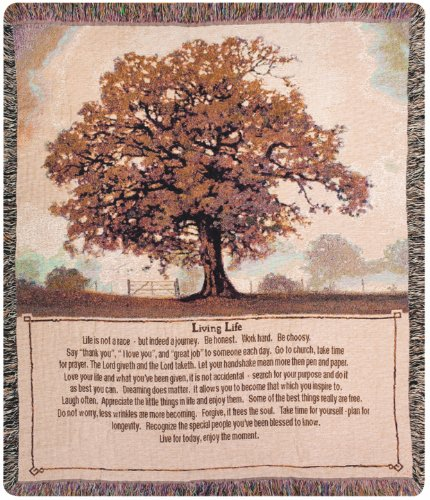 Life Tapestry Throw - Manual Inspirational Collection Tapestry Throw, Living Life, 50 X 60-Inch