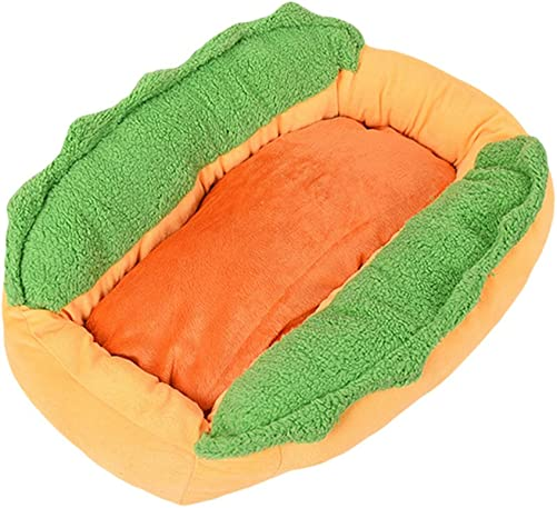 Ocamo Cotton Hot Dog Shape Pet Bed Kennel Cat Dog Nest Puppy House Warm Mat Cushion Washable Pad
