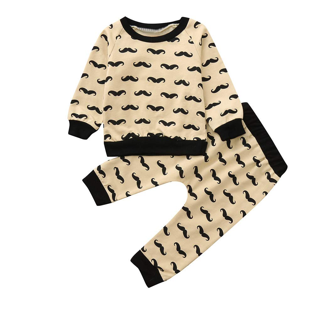 WARMSHOP No Shipping 2 PC Toddler Boys Girls Long Sleeve Pullover Sweatshirt Tops+Casual Elastic Pants Home Clothes Set
