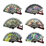 HLJgift Spanish Floral Folding Hand Fan Size 9'' Pack of 12 Assorted Color
