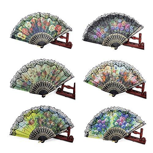 Womens Floral Fan - HLJgift Spanish Floral Folding Hand Fan Size 9