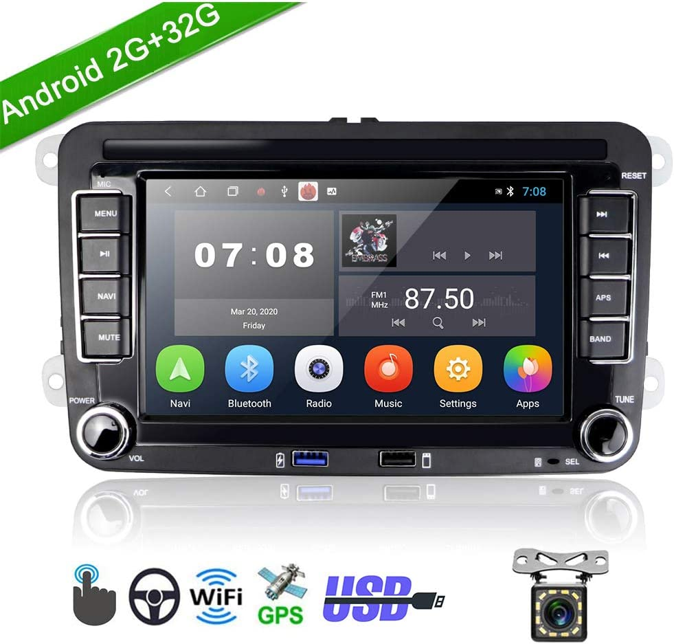 """Car Stereo Double Din Android 2G+32G Headunit Autoradio for VW Golf Passat Tiguan Polo Jetta Skoda Seat 7"""" Touch Screen Car Radio with GPS Navigation Bluetooth,WiFi,USB,FM + Rear View Camera"""
