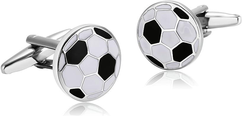 Beydodo Gemelos 1 Par Acero Inoxidable Gemelos Camisa de Hombre Gemelos Boda de Negocios Balón de Fútbol Gemelos para Hombre Gemelos Negro Blanco: Amazon.es: Joyería
