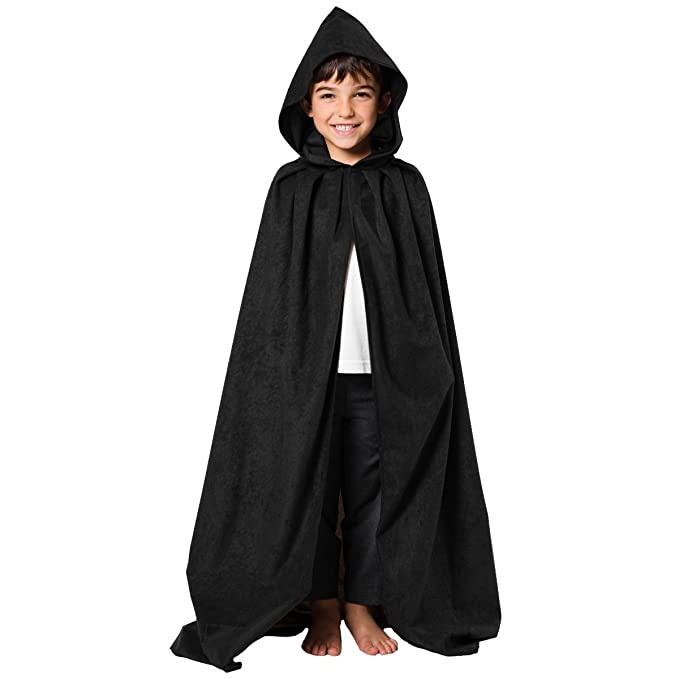 KIDS BROWN CAPE FANCY DRESS HOODED COSTUME CHILDS BOYS CLOAK HOBBIT LORD OUTFIT
