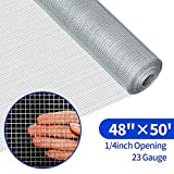 48x50 Hardware Cloth 1/4 inch Square Galvanized Chicken Wire Welded Fence Mesh Roll Raised Garden Bed Plant Supports Poultry Netting Cage Wire Snake Fence