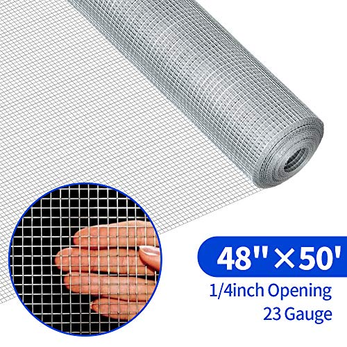 (48x50 Hardware Cloth 1/4 inch Square Galvanized Chicken Wire Welded Fence Mesh Roll Raised Garden Bed Plant Supports Poultry Netting Cage Wire Snake Fence)