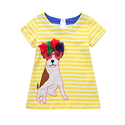 c84f410de Vincent&July Toddler Baby Girls Cartoon Striped Turtle Dog Dress Short  Sleeve Clothes (24M(18-24Month), Yellow)
