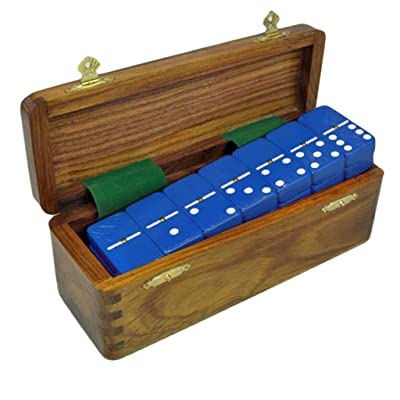 Marion Domino Double Six Blue in Dovetail Jointed Sheesham Wood Box - Jumbo Tournament Size with Spinners: Toys & Games