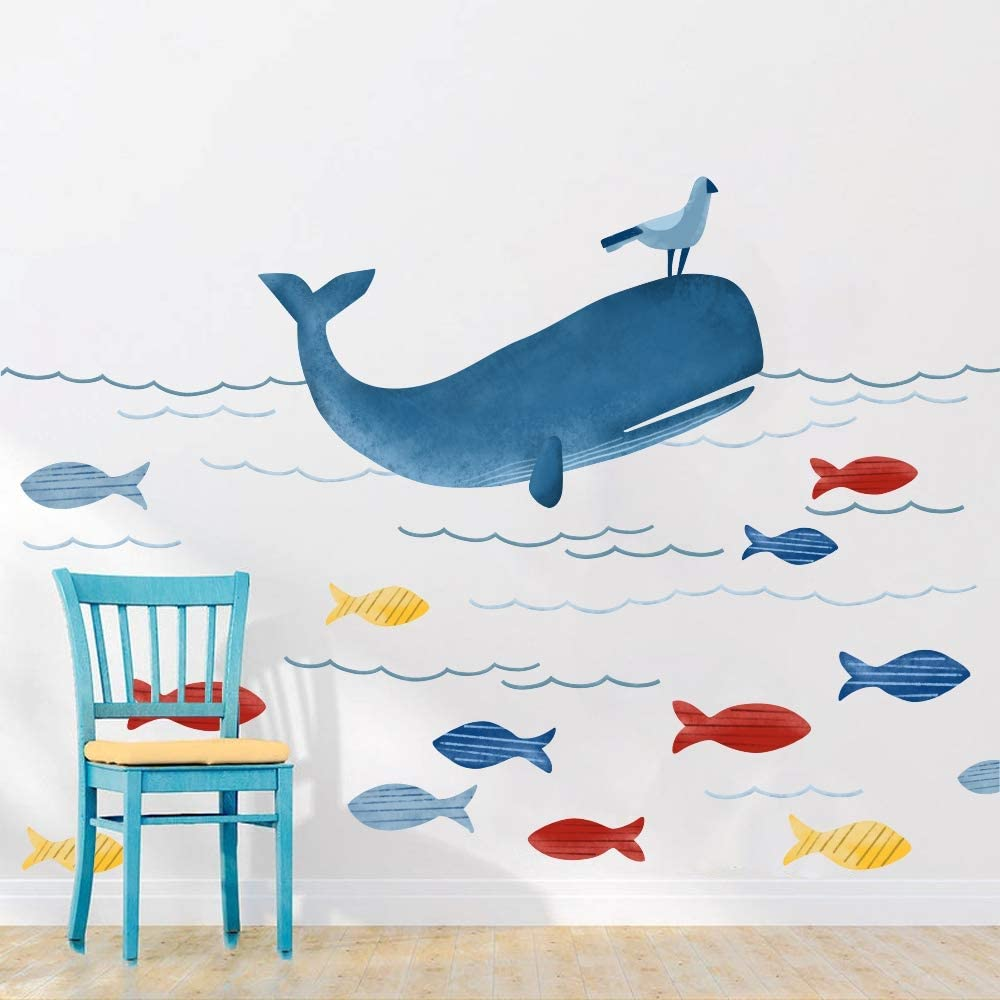 Underwater Animals Wall Sticker, Whale Ocean DIY Wall Decal, Blue Marine Life Wall Stickers for Nursery Kids Playroom Home Decor