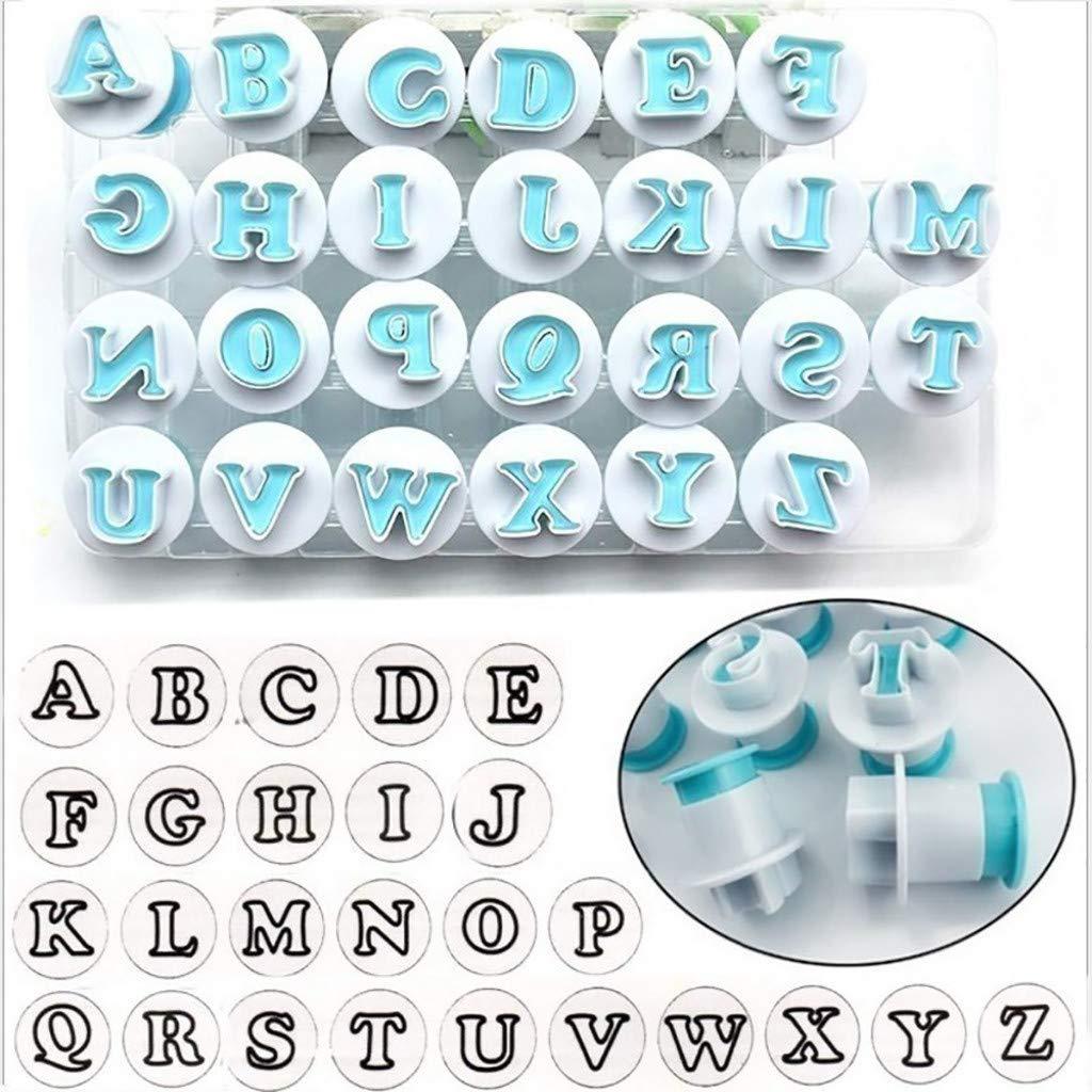 SUJING Alphabet Letter Biscuit Fondant Cake/cookie Stamp Impress Embosser Cutter - Mold Set (A)