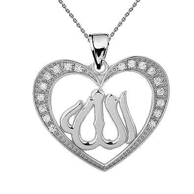 Amazon dazzling 10k white gold cz heart allah pendant necklace dazzling 10k white gold cz heart allah pendant necklace 16quot aloadofball Choice Image