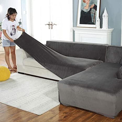 L-Shape Sectional Sofa Cover Stretch Silpcover Settee Couch Cover Protector Sofa