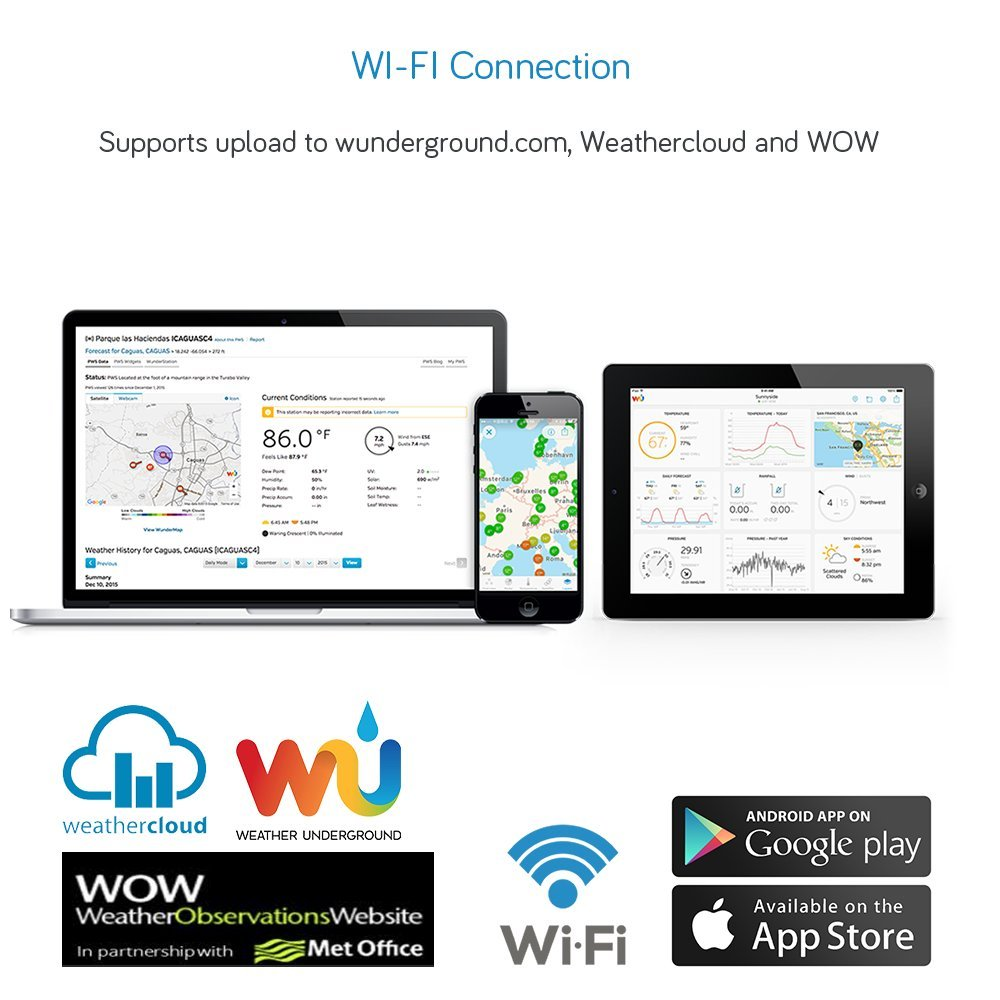 ECOWITT HP3500B TFT Wi-Fi Weather Station with Solar Powered Weather Sensor Color Graph Display Weather APP and PC Software